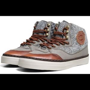 Vans Harris tweed leather high top sneakers 13